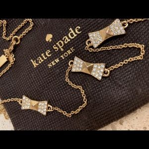 Kate Spade Take a Bow crystal bow scatter necklace
